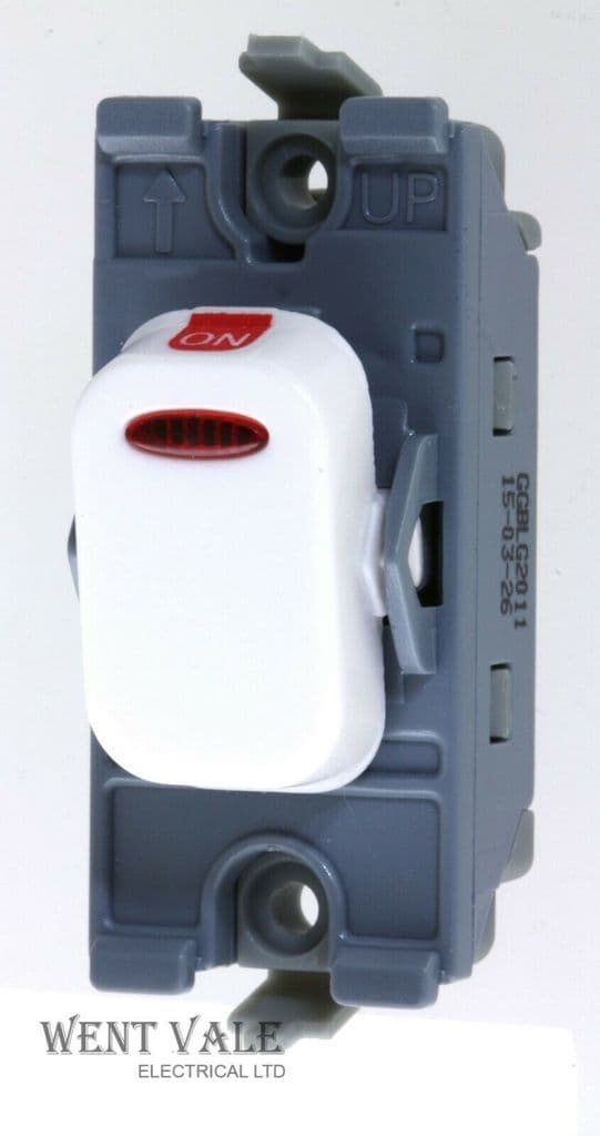 Schneider Lisse Moulded Range GGBLG2011 - 20a Double Pole Grid Switch With LED